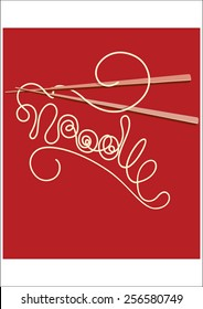 Noodles on chopsticks forming a word NOODLE