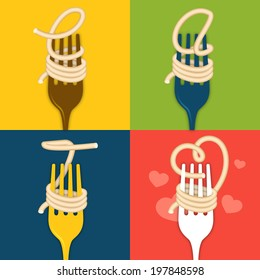 """Noodles on forks spelling out """"eat"""" and heart shape."""