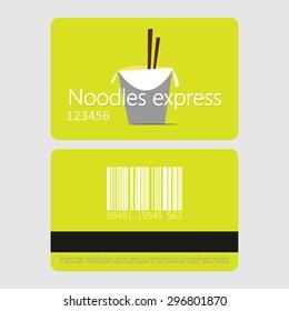 Noodles restaurant. Template loyalty card design. Flat style vector illustration.