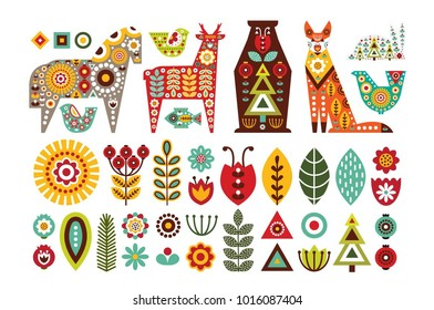 Nordic animals and floral folk elements in Scandinavian style