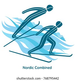 Nordic Combined icon. Olympic species of events in 2018. Winter sports games icons, vector pictograms for web, print and other projects. Vector illustration isolated on a white background