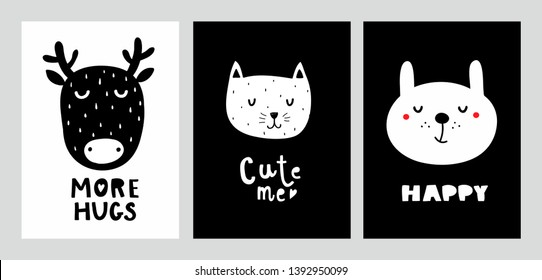 Nordic design prints with cute animals. Black and white decor in baby room. Vector illustration with bunny, cat and deer.