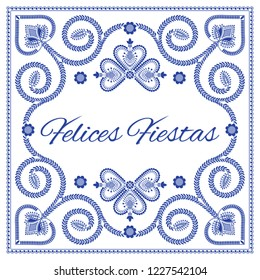 Nordic folk art season card vector template. Felices Fiestas – Happy Holidays in Spanish. Folklore style design background in blue and white colors.