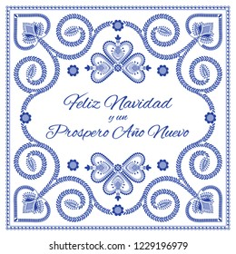 Nordic folk art season card vector template. Feliz Navidad y un Prospero Ano Nuevo - Merry Christmas and Happy New Year in Spanish. Folklore style design background in blue and white colors.