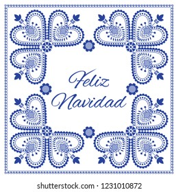 Nordic folk art season card vector template. Feliz Navidad - Merry Christmas in Spanish. Folklore style design background in blue and white colors for banner, greeting, party invitation, poster.