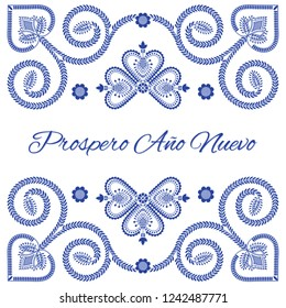 Nordic folk art season card vector template. Prospero Ano Nuevo - Happy New Year in Spanish language. Folklore style design background for banner, greeting, party invitation, poster.