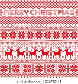 nordic pattern.Background of snow crystal and reindeer.