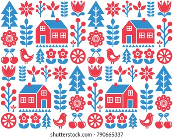 Nordic, Scandinavian inspired folk art seamless pattern - Finnish vector design in blue and red.  Vector wallpaper background with flowers, Finnish house, rural scenery decoration - kiddy style