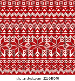 Nordic seamless pattern on the wool knitted texture