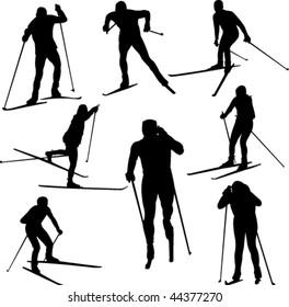 Nordic skiing vector
