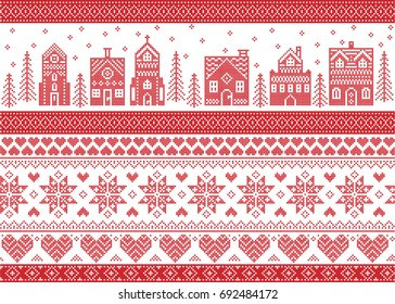 Nordic style and inspired by Scandinavian cross stitch craft Christmas pattern in red and white including  winter wonderland village, church, gingerbread house, Christmas tree, star, snowflake,heart