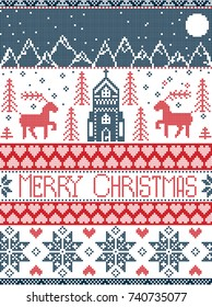 Nordic style Merry Christmas pattern in red and white including  winter wonderland village, church, Xmas trees, mountains, stars , snowflakes, reindeer in blue, red