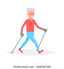 Nordic walking. Vector. Cartoon. Isolated art on white background. Flat