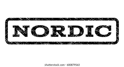 Nordic watermark stamp. Text caption inside rounded rectangle with grunge design style. Rubber seal stamp with dust texture. Vector black ink imprint on a white background.