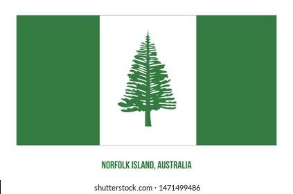 Norfolk Island Flag Vector Illustration on White Background. Territory Flag of Australia.