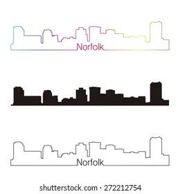 Norfolk skyline linear style with rainbow in editable vector file