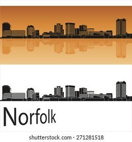 Norfolk skyline in orange background in editable vector file