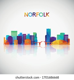 Norfolk skyline silhouette in colorful geometric style. Symbol for your design. Vector illustration.