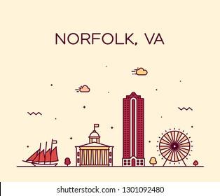 Norfolk skyline, Virginia, USA. Trendy vector illustration, linear style