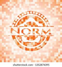 Norm abstract orange mosaic emblem