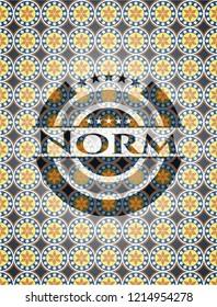 Norm arabic badge background. Arabesque decoration.