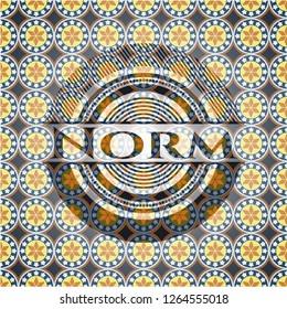 Norm arabic style badge. Arabesque decoration.