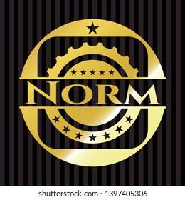 Norm golden badge. Vector Illustration. Detailed.