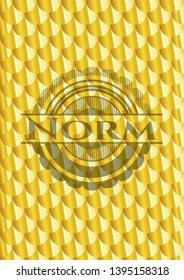 Norm golden emblem. Scales pattern. Vector Illustration. Detailed.