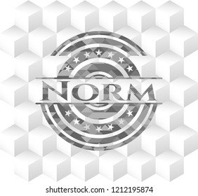 Norm grey emblem with cube white background