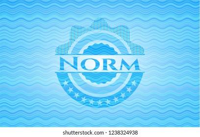 Norm light blue water wave style emblem.