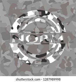 Norm on grey camouflage texture