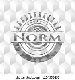 Norm retro style grey emblem with geometric cube white background