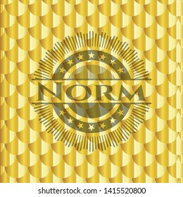 Norm shiny golden emblem. Scales pattern. Vector Illustration. Detailed.
