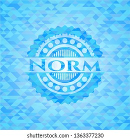 Norm sky blue emblem with triangle mosaic background