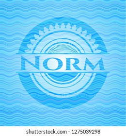 Norm water concept badge background.
