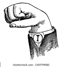 Normal Aperture Mixed Primary High Vowel positions. The voice phalanx of thumb accented and in contact with terminal phalanx of accented finger, vintage line drawing or engraving illustration.