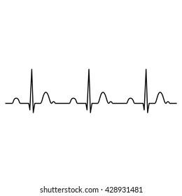 Normal ECG (Electrocardiogram) , heart rhythm ekg , black isolated vector Illustration