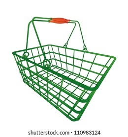 normal green shopping hand basket in vector illustration in perspective view
