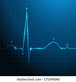 Normal heart rhythm blue background design with light shades, electrocardiogram.