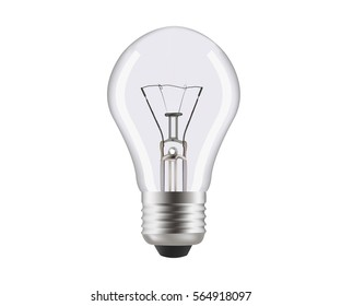 Normal lamp close up. Object isolated on white background. Realistic vector illustration about illuminant. Mesh gradient.