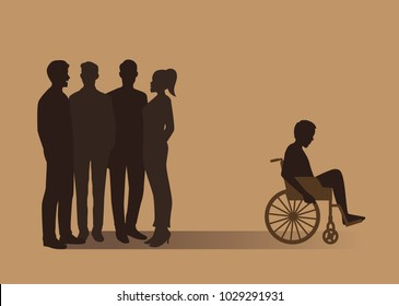 Normal people group gossip about disabled man in a wheelchair. Illustration about desertion from bad society.