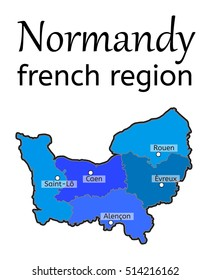 Normandy french region map on white