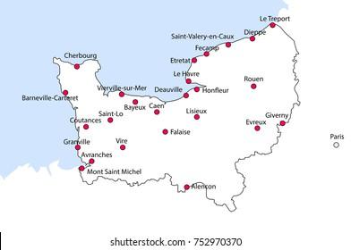 Map Of Northern France Coastline.Imagenes Fotos De Stock Y Vectores Sobre Normandy Map Shutterstock