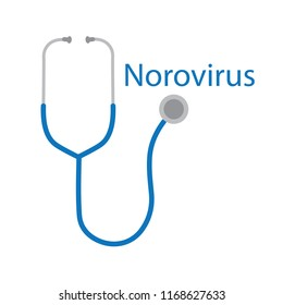 Norovirus word and stethoscope icon- vector illustration