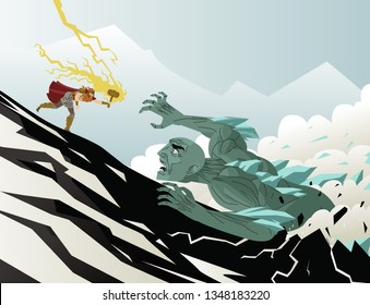 norse mythology thor fighting a frost ice giant monster ogre
