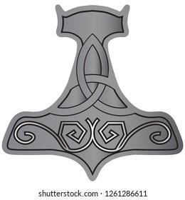 Norse Viking vector illustration: Mjolnir the hammer of Thor isolated.