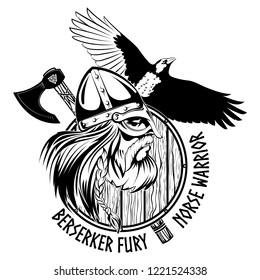 Norse warrior Berserker. Viking head, shield, battle axe and black Raven, isolated on white, vector illustration