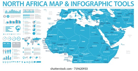 North Africa Map - Detailed Info Graphic Vector Illustration