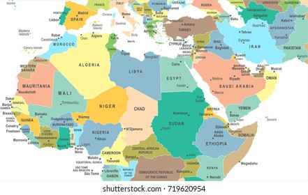 North Africa Map - Detailed Vector Illustration