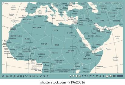 North Africa Map - Vintage Detailed Vector Illustration